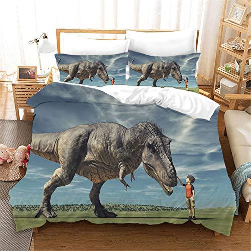 SMNVCKJ Juego de cama Jurassic World de dinosaurios, 100% microfibra, con almohada, adecuado para jóvenes (5,Double 200 × 200 cm)