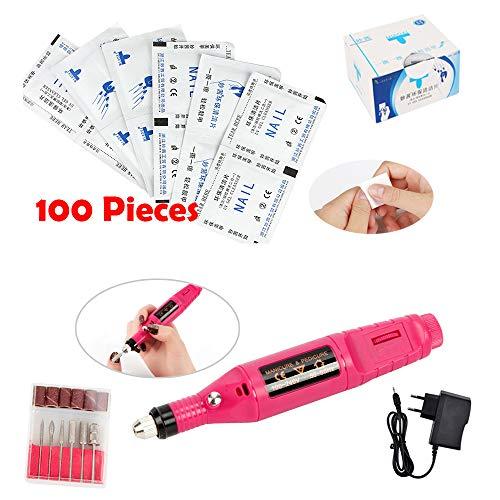 Frenshion Rosa elektrische Nagel-Bohrgerät-Maniküre-Pfeifer-Ausrüstungs-Nagellack-Maschine, 100 Stücke/Kasten Baumwolle wischt UV LED-Nagel-Kunst-Spitzen Lint Papierauflage für Nagel-Sorgfalt ab