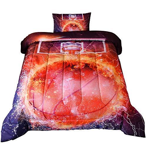 PomCo Basketball Comforter Set Twin (68x88 Inch), 2Pcs (1 Basketball Comforter&1 Pillowcase) 3D Sports Themed Microfiber Bedding Set, Basketball with Fire Comforter Set for Boy Girl Teen Kid