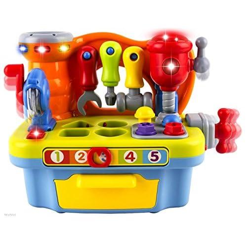 WISHTIME Bambini Attrezzi da Lavoro Banco Tool Kit Musicale Play Set con Shape Sorter per i Bambini