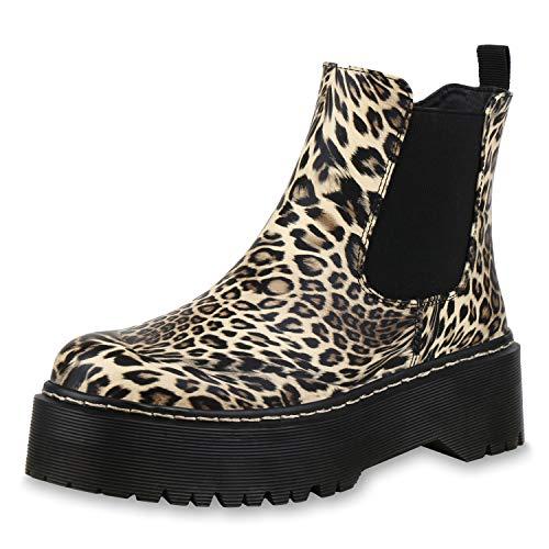 SCARPE VITA Damen Stiefeletten Plateau Boots Prints Profilsohle Plateauschuhe 173471 Leopard 39