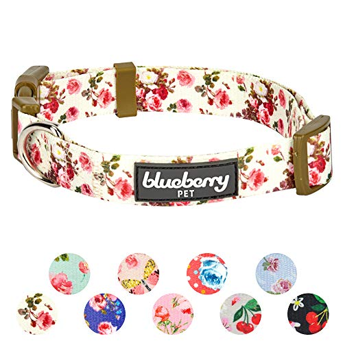 Blueberry Pet 11 Patterns Spring Scent Inspired Pink Rose Print Ivory Adjustable Dog Collar, Small, Neck 12-16