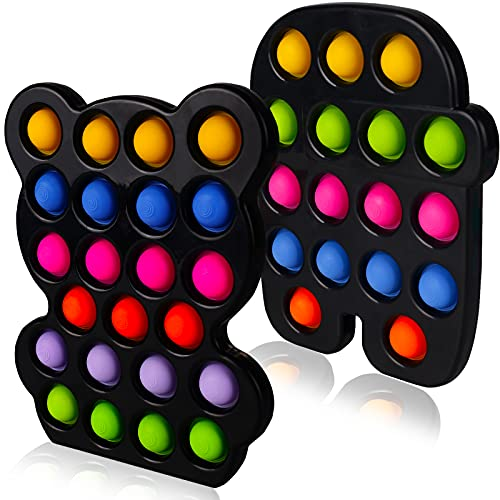 2 Packs Large Simple Silicone Dimple  Big Plastic Push Popper Popping it  Hard Shell Pop Bubble Figetget Sensory Toy Cheap Figit Pop Popet Cheap Fidget Stress Anxiety Relief Tous Black Bear Rober