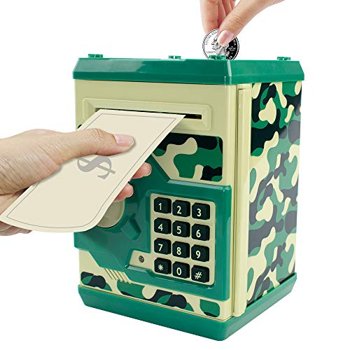 HUSAN Great Gift Toy for Kids Code Electronic Piggy Banks Mini ATM Electronic Coin Bank Box for Children Password Lock Case (Camouflage Green)