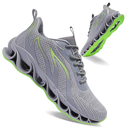 APRILSPRING Mens Grey Sports Walking Shoes Leisure Best Non-Slip Running Training Fitness Running Shoes