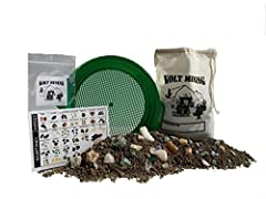 Science and educational activity kit that teaches your young mining hunter how to find, sort and identify rocks, fossils, gems, and minerals. What you get with the Emerald Bag mining rough activity kit [NOTE: Rocks, Gems and Minerals will vary in ass...