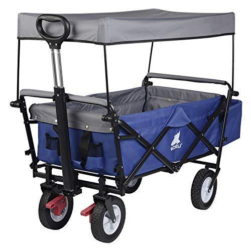 WOLTU Bollerwagen faltbar Handwagen Gartenwagen mit Dach, Rollen mit Bremse, Strandwagen mit Sonnenschutz, für den Garten Camping Kinder, 80 kg belastbar, Blau, TW005blg