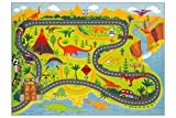 KC CUBS Playtime Collection Dinosaur Dino Safari Road Map Educational Learning & Game Area Rug Carpet for Kids and Children Bedrooms and Playroom (3'3' x 4'7')