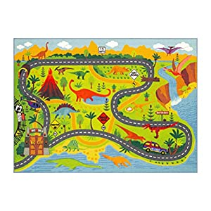 KC Cubs Playtime Collection Dinosaur Dino Safari Road Map Educational Learning & Game Area Rug Carpet for Kids and Children Bedrooms and Playroom (5'0″ x 6'6″)