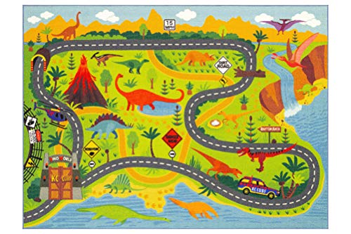 "KC Cubs Playtime Collection Dinosaur Dino Safari Road Map Educational Learning & Game Area Rug Carpet for Kids and Children Bedrooms and Playroom (5'0"" x 6'6"")"