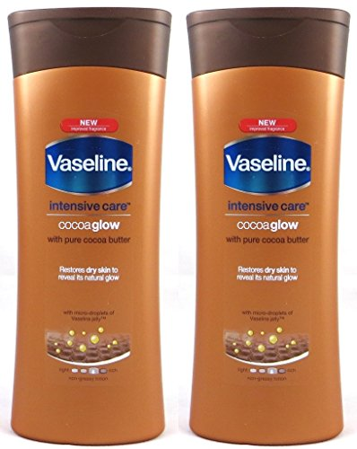 Vaseline Intensive Care Cocoa Glow Body Lotion With Pure Cocoa Butter, 13.5 Oz / 400 Ml (Pack of 2)