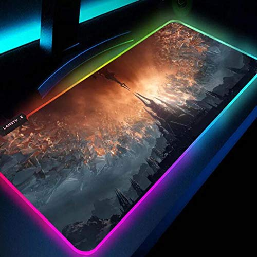 Mouse Pads Wow RGB Led Mouse Pad Backlit Mat Gamer Gaming Keyboard Computer for World of Warcraft 24x12x0.15 inch