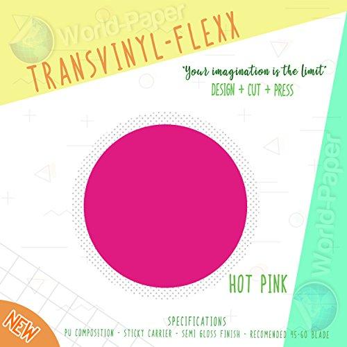 "Heat Transfer Vinyl 10"" x 1 Yard Roll T-Shirt Iron ON All Cutting Machines (Hot Pink)"
