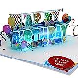 100 Greetings LIGHT & MUSIC Pop Up Happy Birthday Card – 3D Birthday Popup Cards - Pop Up Birthday Cards for Women & Men – Plays Hit Song 'HAPPY' – Pop Up Birthday Card Music - Pop Up Cards Birthday