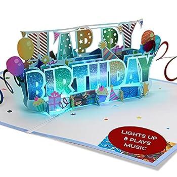 100 Greetings LIGHT & MUSIC Pop Up Happy Birthday Card – 3D Birthday Popup Cards - Pop Up Birthday Cards for Women & Men – Plays Hit Song  HAPPY  – Pop Up Birthday Card Music - Pop Up Cards Birthday