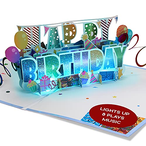 100 Greetings LIGHT & MUSIC Pop Up Happy Birthday Card – 3D Birthday Popup Cards - Pop Up Birthday...