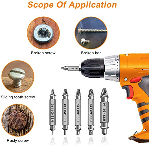 Damaged&Stripped Screw Extractor Remover Tool and Drill Bit Set. Broken Bolt Extractor and Screw Remover Set of 6 Pcs