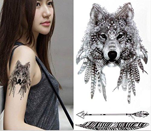 ND_Tatouage temporaire femme tattoo ephemere autocollant loup noir