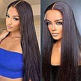 PORSMEER Pelucas lace front sintetica naturales Liso Marrón Oscuro Peluca Larga recta para mujer,peluca de fibra de aspecto realista, 24 pulgadas