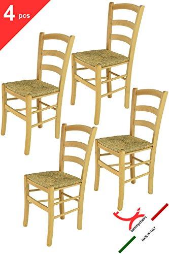 Tommychairs sillas de Design - Set 4 sillas Modelo Venice para Cocina, Comedor, Bar y Restaurante, con Estructura en Madera Color Natural y Asiento en Paja