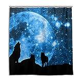alaza Cortina de Ducha del Lobo Luna Grande Noche Estrellada 72 x 72 Pulgadas, Resistente al...