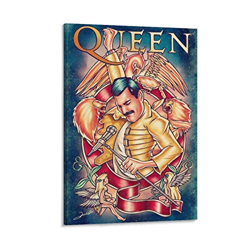 Queen Freddie Mercury Wallpaper Cover 3 Canvas Art Poster and Wall Art Picture Print Modern Family Bedroom Decor Posters 12x18inch(30x45cm)