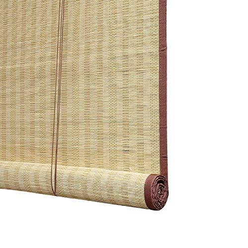 JSONA Protector Solar Persiana Enrollable de bambú Opaca Natural Carbonizada con Cenefa Cortina de partición Persianas enrollables de bambú Protección Persianas enrollables de privacidad-60X180cm