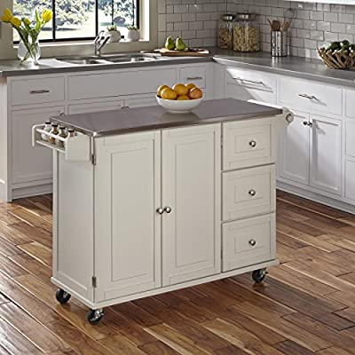Liberty White Kitchen Cart with Stainless Steel Top by Home Styles from Home Styles
