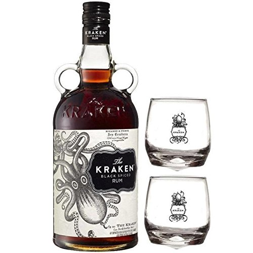 THE KRAKEN RON NEGRO SPICED 70CL 2 copas de cristal KRAKEN