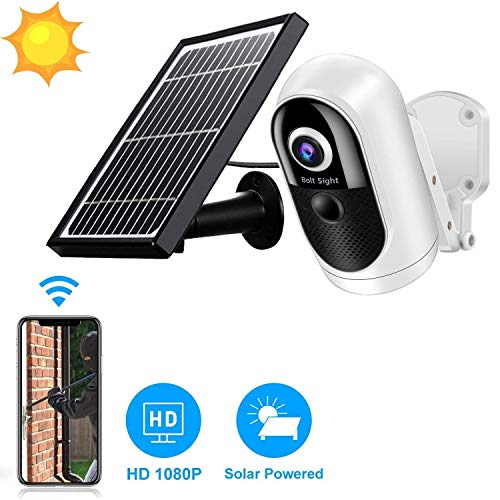 Solar Powered Wireless Home Security System, 1080P Outdoor WiFi Camera Surveillance Camera, Night Vision, Human Motion Detection, 2-Way Audio, SD/Cloud, IP65 Weatherproof Bullet Cameras