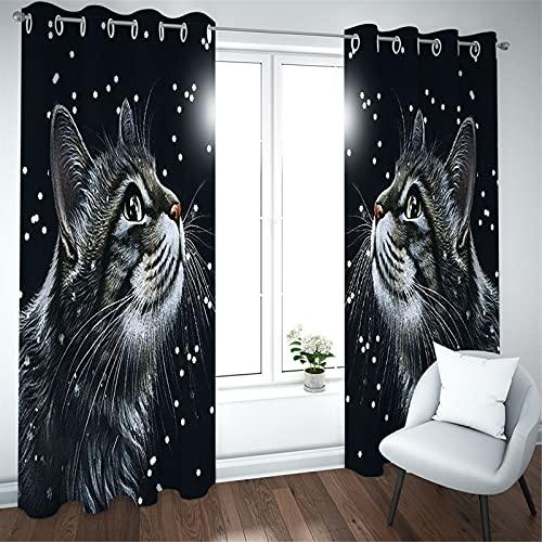 FACWAWF Cortinas De Patrón De Gato Impresas En 3D, Arrugas Onduladas De Textura Suave para El Balcón del Dormitorio De La Sala De Estar 184x160cm(2pcs)