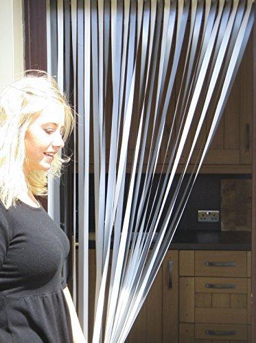 Holland Plastics Original Brand Wohnwagen-Türvorhang, Fliegengitter, Insektenschutz, Streifenvorhang -'Silber & weiß' - 62cm breit