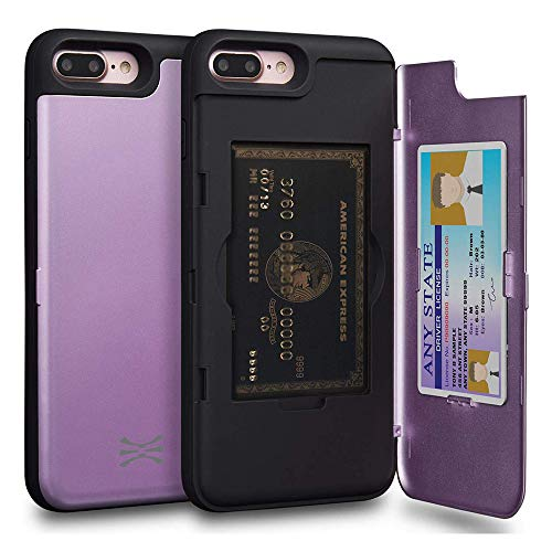 TORU CX PRO Compatible with iPhone 8 Plus/iPhone 7 Plus Case - Protective Dual Layer Wallet Purple with Hidden Card Holder + ID Card Slot Hard Cover & Mirror - Lavender