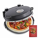 Pizzaofen Peppo 1200 W, Pizzamaker, Minibackofen elektrisch für Pizza & Brot 350°C, Timer & Signallampe, inkl. Emaille-Bratpfanne & 2 großen Pizzawendern + Gratis Rezept (PDF) - anthrazit