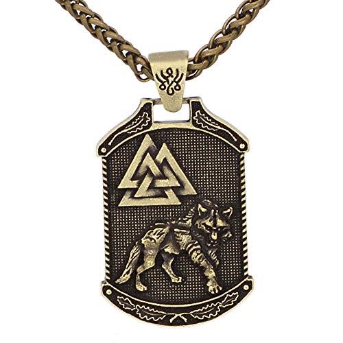 QZY Wikinger Halskette, Herren Nordic Celtic Wolf Odin Logo Amulett Retro handgefertigten Anhänger Lange Pullover Kette Flut Zubehör,Bronze