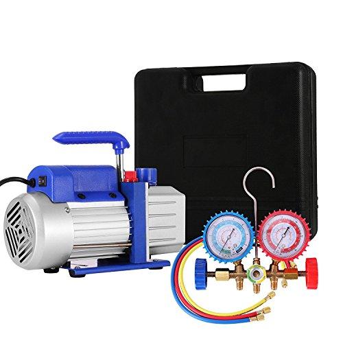 BananaB 4CFM 1/3HP Vakuumpumpen-Kit HVAC Klimaanlage Kältemittel-Drehschieber-Vakuumpumpe mit 4 Ventil R134A R502 R22 R12 A/C Verteiler-Manometer-Set