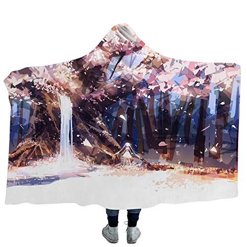 YPDMet capuchon deken, sprookjeslandschap van de fantasie 3D met capuchon deken fleece oceaanblauw draagbaar pluche deken op de bed sofa sterk warm