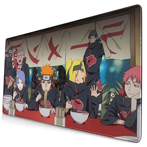 Japan Anime Naruto Akatsuki Mouse Pad with Stitched Edge Premium-Textured Mouse Mat Rectangle Non-Slip Rubber Base Oversized Gaming Mousepad,for Laptop Computer & PC 15.8X29.5 Inches