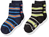 Carhartt boys Crew With Grippers 2-pair Casual Sock, Blue/Black, Shoe Size 4-8.5 18-36 Months US