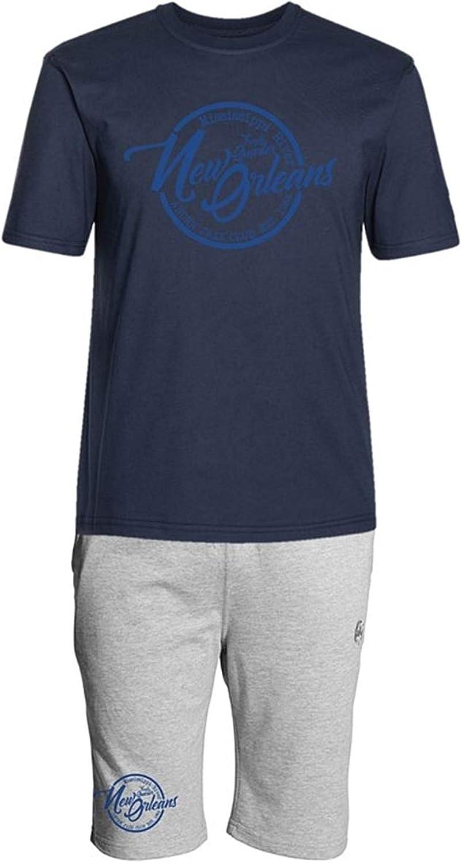 Ahorn Sportswear übergren   Kurzer Freizeitanzug New Orleans Jazz blau Navy grau Melange