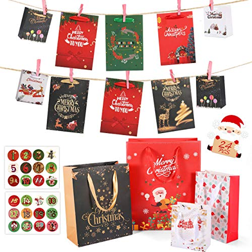 RATEL 24 Sacchetti Regalo di Natale in Carta Calendario dell'Avvento Fai-da-Te con Include 24 numero adesivi per avvolgere il regalo Halloween, Natale, Matrimonio, Compleanno Sacchetti di Carta Regalo