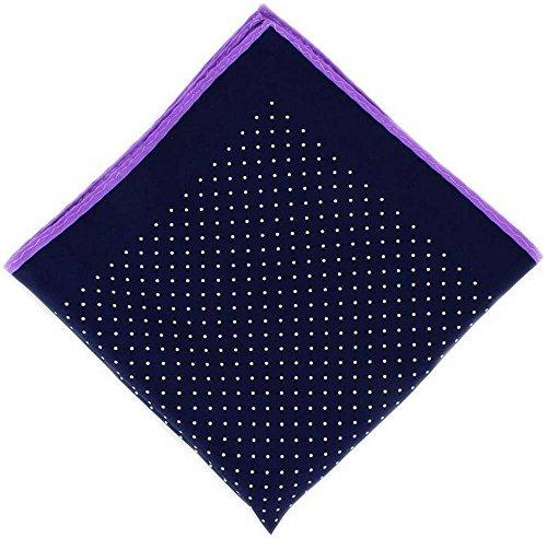 Michelsons of London Marine/Violet Pin Dot avec mouchoir Border Soie de