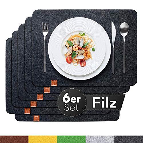 Sidorenko Edles Platzset aus Filz 6er Set anthrazit - Tischset Abwischbar 44x32cm Filzuntersetzer - abwaschbare Tischuntersetzer Platzdeckchen - grau Untersetzer Filzmatte