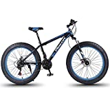 DJYD 24 Speed-Mountain Bikes, 27,5-Zoll-Fat Tire Mountain Trail Bike, High-Carbon Stahlrahmen, Männer Frauen All Terrain Mountain Bike mit Doppelscheibenbremse, Blau FDWFN