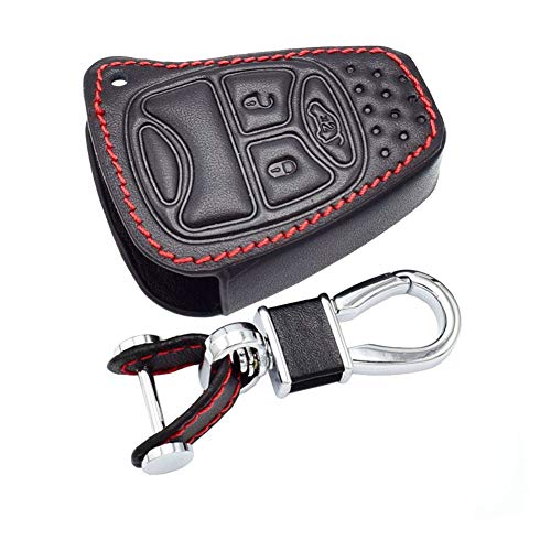 Happyit Leder Autoschlüssel Hülle für Dodge JCUV Jeep Compass Grand Cherokee Patriot Pacifica Chrysler 300C