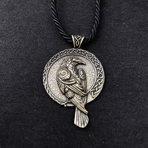 SummarLee 1 Wikinger Rabe Anhänger Amsel keltische Halskette Schmuck Nordic Amulett Halskette Modeschmuck Herren und Damen,Messing