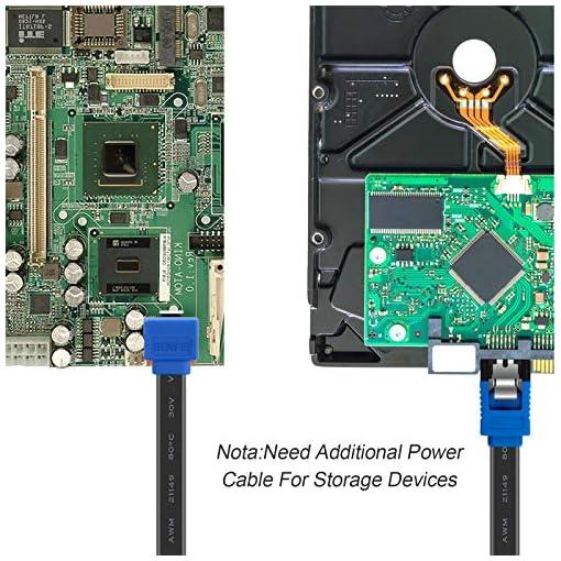 BENFEI Cable SATA III,3 Unidades, 6 Gbps, ángulo Recto de 90 Grados, con Cierre de Cierre, 45,72 cm, para Disco Duro… 6