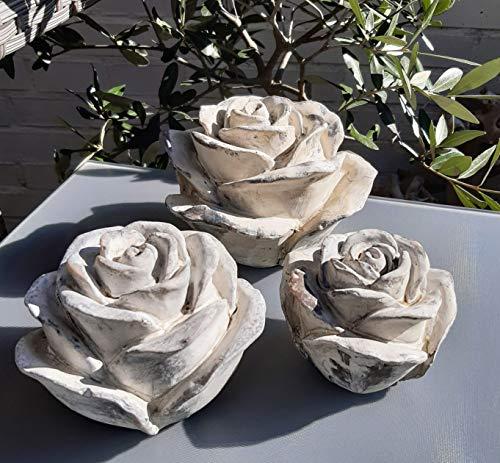 Vintage 3er Set Dekokugel Gartenkugel Rose Blume Rosen Kugel Gartendeko Tischdeko Deko für INNEN UND AUSSEN