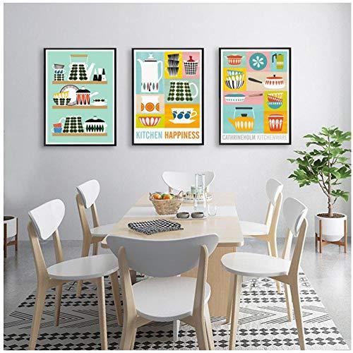 DLFALG Cuadro de lienzo nórdico, tetera, arte de pared, taza, utensilios de cocina modulares, póster, impresiones de imágenes, decoración del hogar, cabecera-40x60cmx3 sin marco