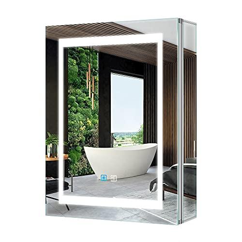 Tokvon® Viewfinder Muebles de baño con luz LED Mueble de Espejo de Aluminio con Enchufe para máquina de Afeitar Interruptor de atenuador LED antivaho Puerta Doble 500x700 mm para Afeitar